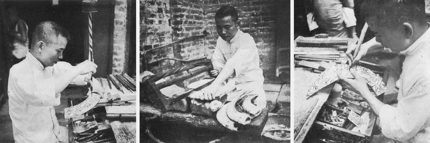 工匠们在打钻、锯及雕刻象牙