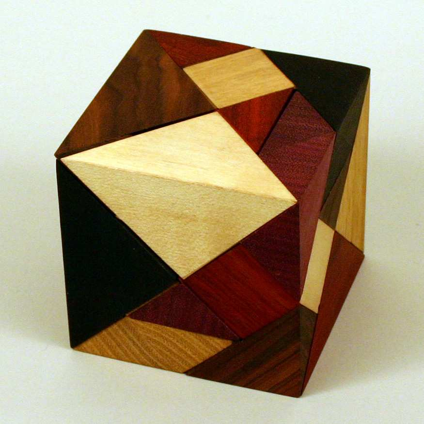 wood tanacube tangram cube made by Josef Pelikan