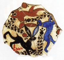 three hares pottery fragment