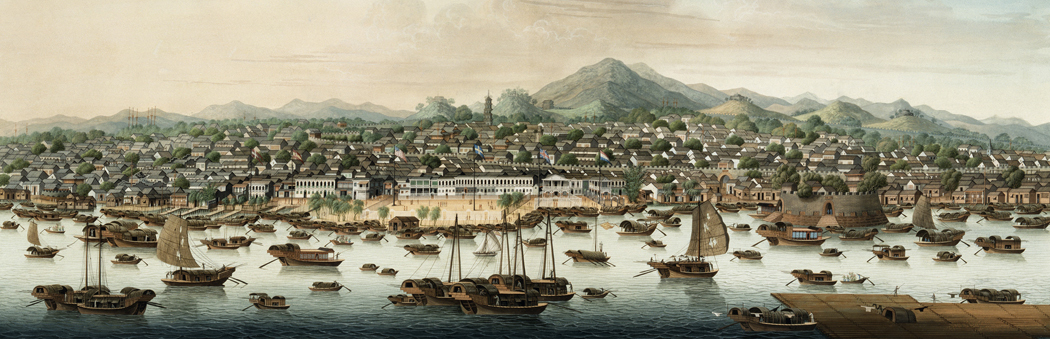 view of Canton harbor in 1800