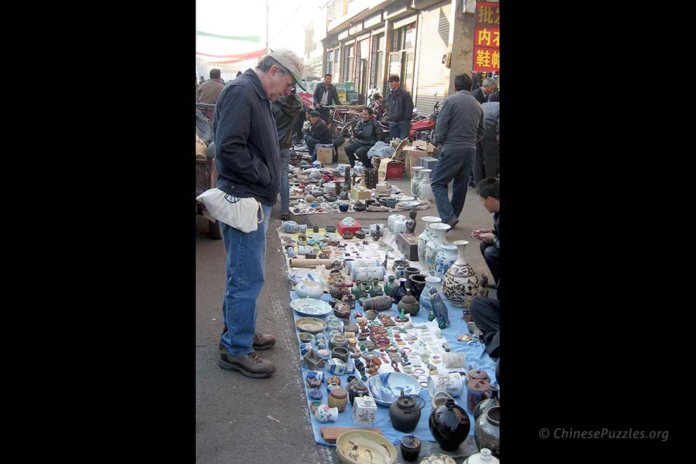 Peter Rasmussen at a Shanxi antique market