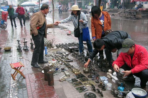 Wei Zhang at a Shanxi antique market